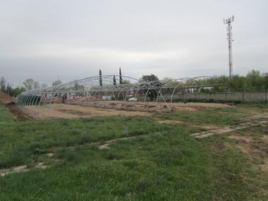 Montaje y suministro de 2 invernaderos monotunel con ventilación lateral en Madrid.