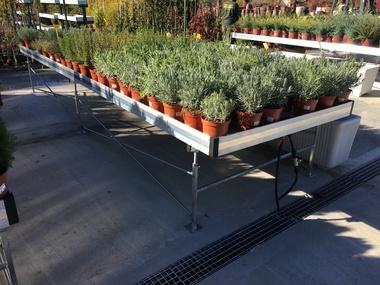 Fabricación y suministro de mesas cultivo por inundación para planta ornamental en Madrid.